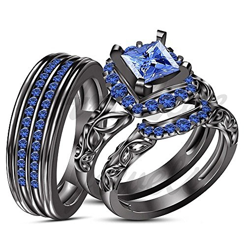 ArtLine Jewels 14K Black Gold Fn Real Blue Sapphire Diamond Trio Set Matching Engagement Ring Wedding by ArtLine Jewels