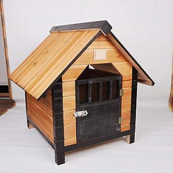 Alppq Caseta de perro Al aire libre Casa de perro de madera maciza Impermeable Fácil de ...