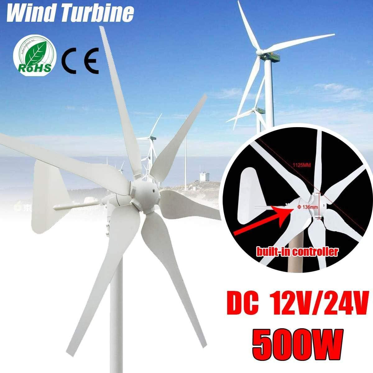 SISHUINIANHUA DC turbinas de Viento generador 6 Cuchillas 12V / 24V 500W Las turbinas de Viento en Miniatura hogar residencial Controlador con para Uso doméstico,24v