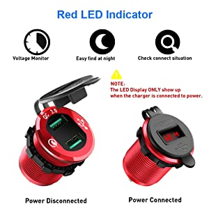 Quick Charge 3.0 Car Charger, Rocketek 12V/24V 36W Waterproof Aluminum Dual USB Charger Socket Power Outlet Adapter with LED Voltmeter & Wire Fuse DIY Kit for Car Boat Motorcycle Marine Bus Truck etc (Color: DIY car kit)