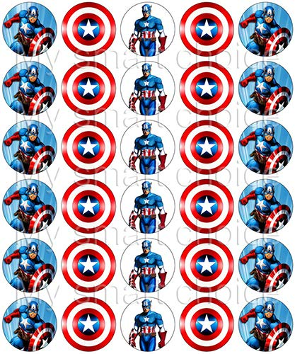 30 x Edible Cupcake Toppers – Captain America Themed Collection of Edible Cake Decorations | Uncut Edible Prints on Wafer -