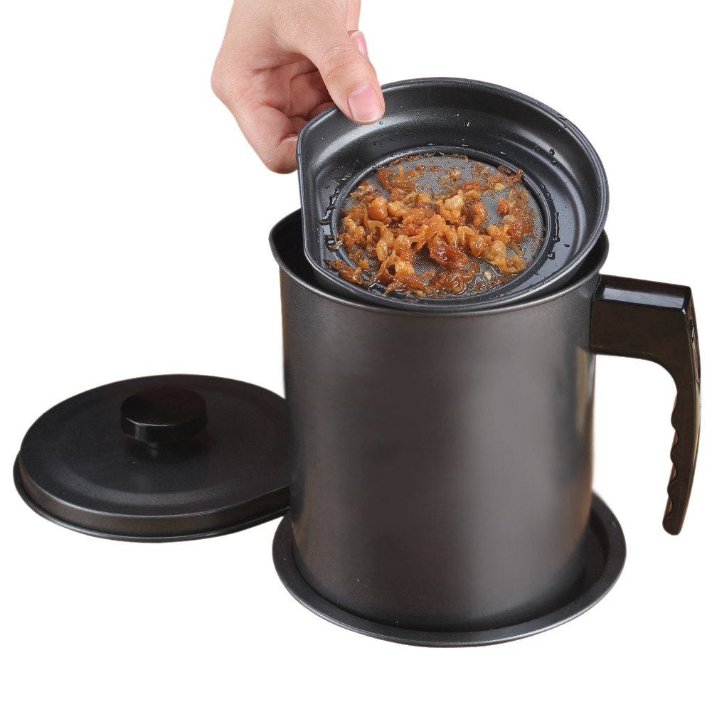 Ourokhome Bacon Grease Container with Strainer- 1.3L Black Kitchen Can for Used Cooking Oil, Fat, Frying Oil