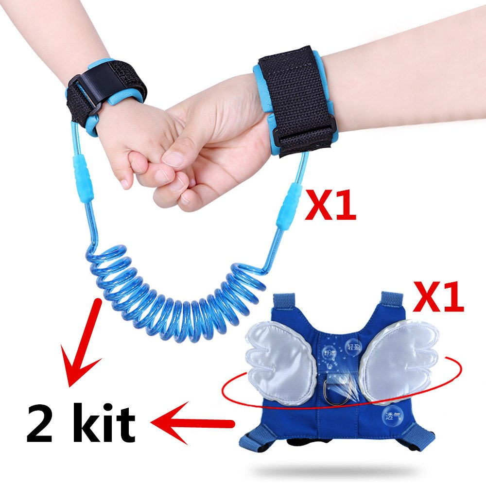 (2 kit)Anti Lost Wrist Link 2 meters Wrist Leash for Kids & Toddlers Child Safety Wristband (Blue) by MPAYIXUNGS (Image #2)