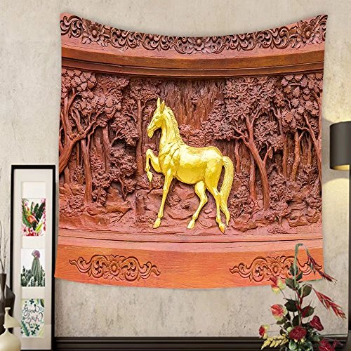 Keshia Dwete Custom tapestry horse wood carvings in thai land by Keshia Dwete