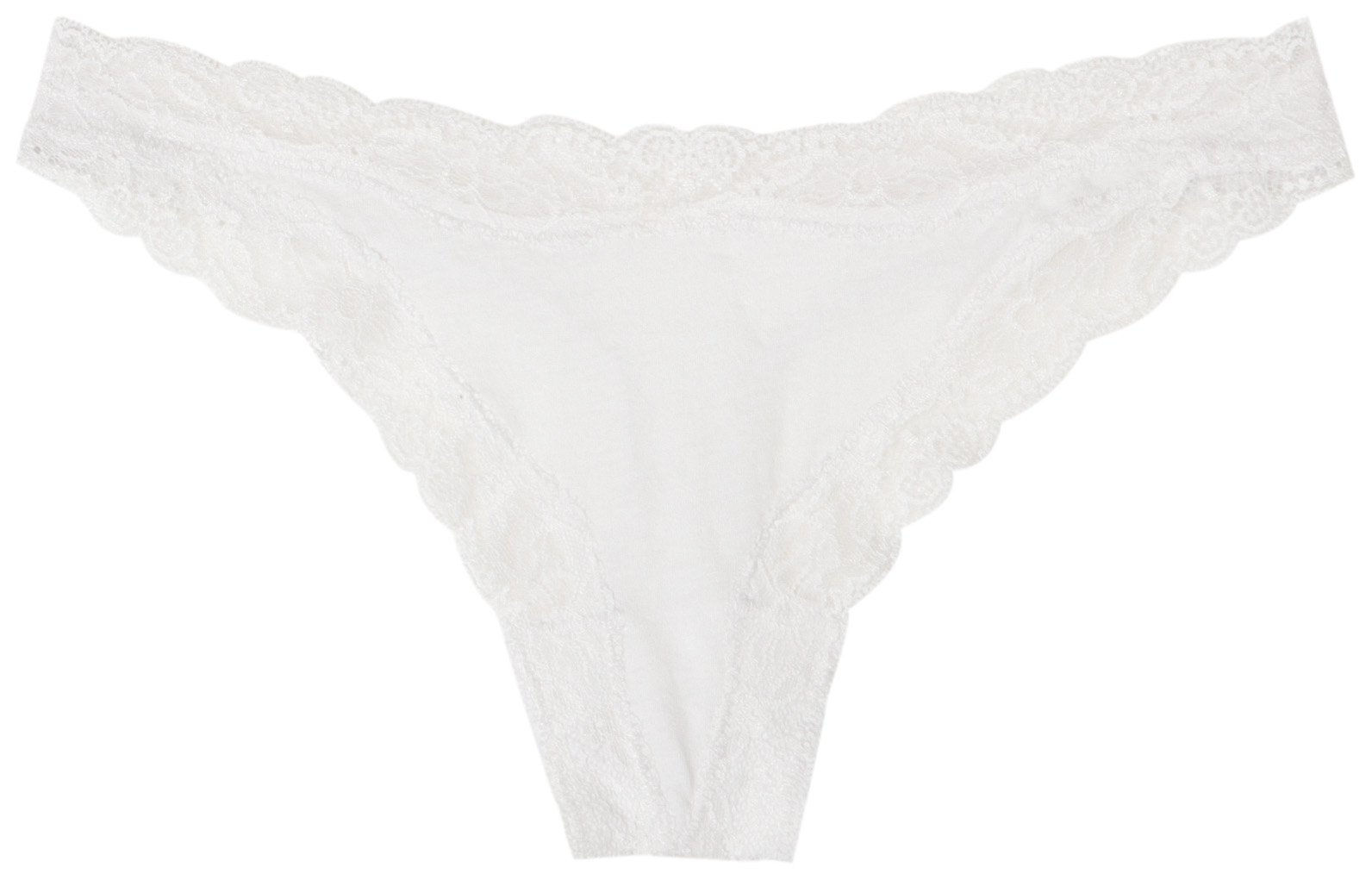 Only Hearts Women's Organic Cotton Thong Panty, White, Medium/Large