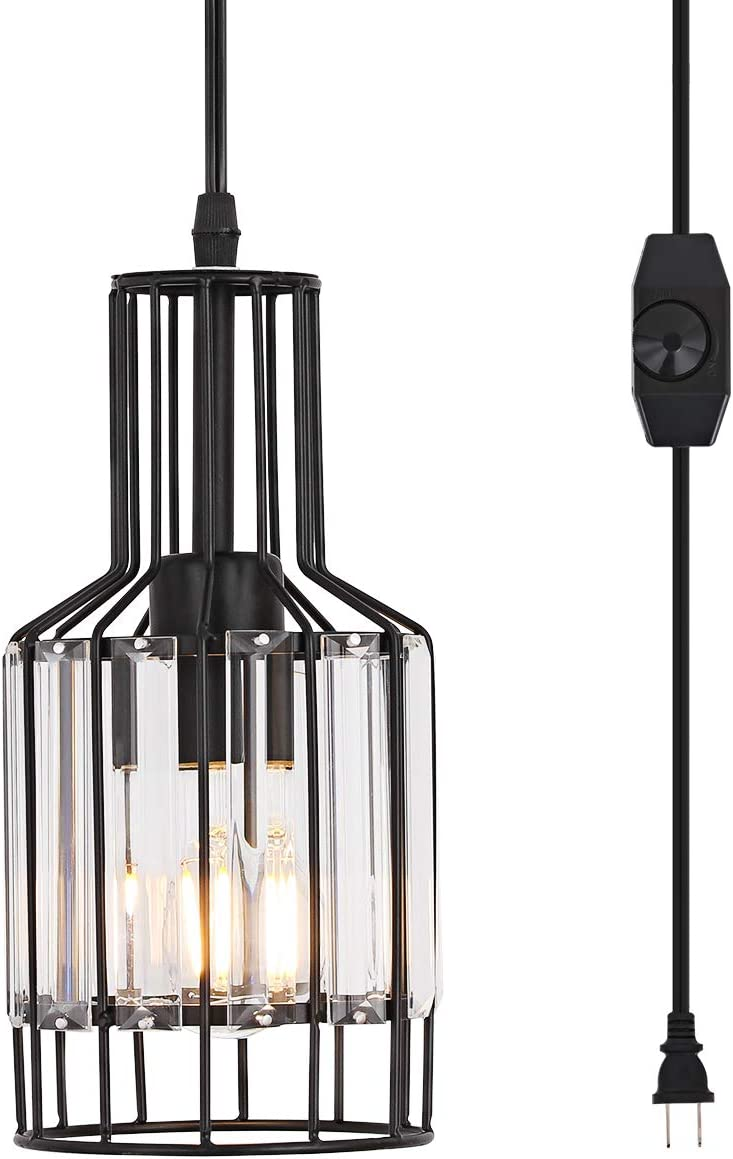 YLONG-ZS Hanging Lamp Swag Lights with Plug in Light Cord and Chain 16FT,On Off Dimmer Switch, Transitional Hanging Pendant Lamps with Clear Glass Lampshade for Dining Room, Bed Room Black Finishing