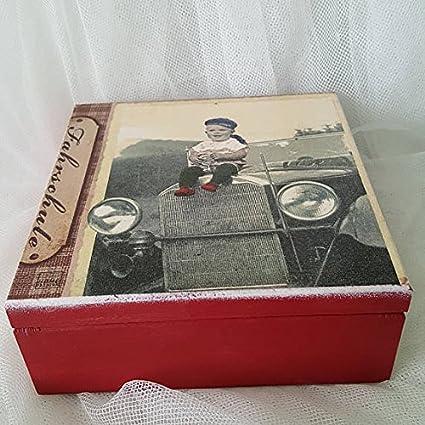 Joyero de madera, estilo vintage, Little Boy, coche antiguo, día del padre