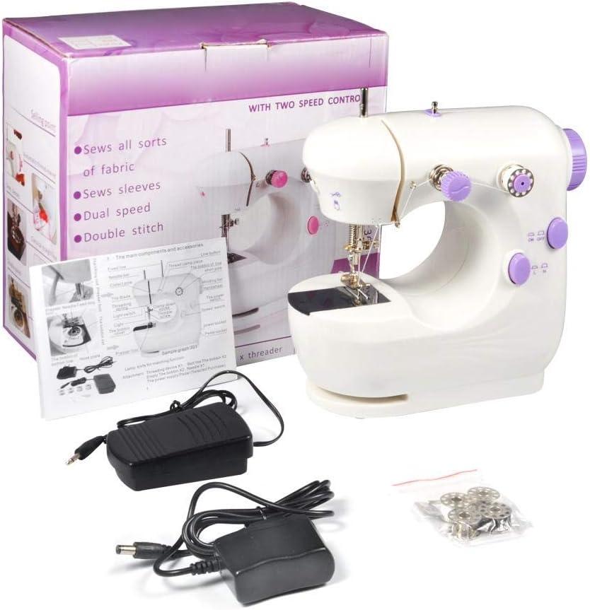 Máquina de coser, Mini multifunción púrpura herramientas de coser eléctricas portátiles profesionales de doble velocidad Herramienta de costura inalámbrica de mano mini máquina de coser para niños