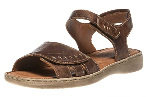1a4df952 Lisa Leather Velcro Fastening Ladies Sandal 6.5/40 Bark SS17 Brown