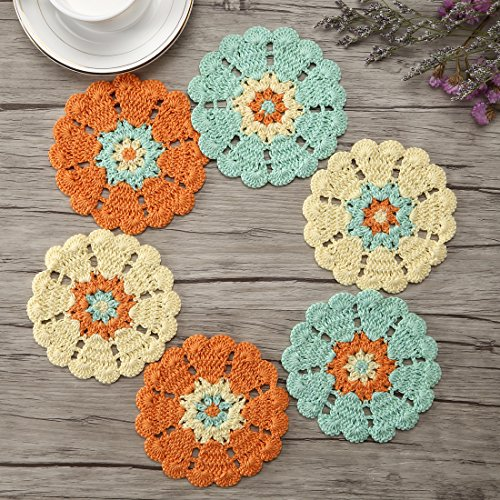 (ZORJAR Heat-Resistant Placemats for Kitchen Coasters Doilies Round Handmade Crochet Lace Mercerized Cotton Lace Table Glass Coffee 4.7 Inch Set of 6)