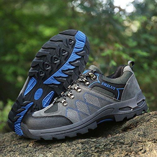 JEDVOO Zapatillas de Senderismo ,Zapatos de Deporte y Aire Libre Para Unisex Gris Azul