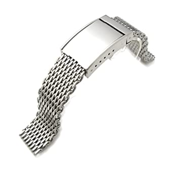 3110d646c907 20mm Brushed Ploprof 316 Reform Stainless Steel  quot SHARK quot  Mesh  Watch Band Solid Seatbelt