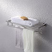 KES A2112 Shelf with Towel Rack Minimalist Stainless Steel Towel Rack with Two Towel Bars, Mirror Polishing