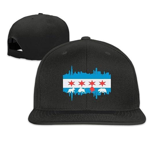POHAT44 Chicago Flag Skyline Bear Flat Bill Brim Adjustable Trucker Hat  Baseball Cap for Men   2d7f227ea54