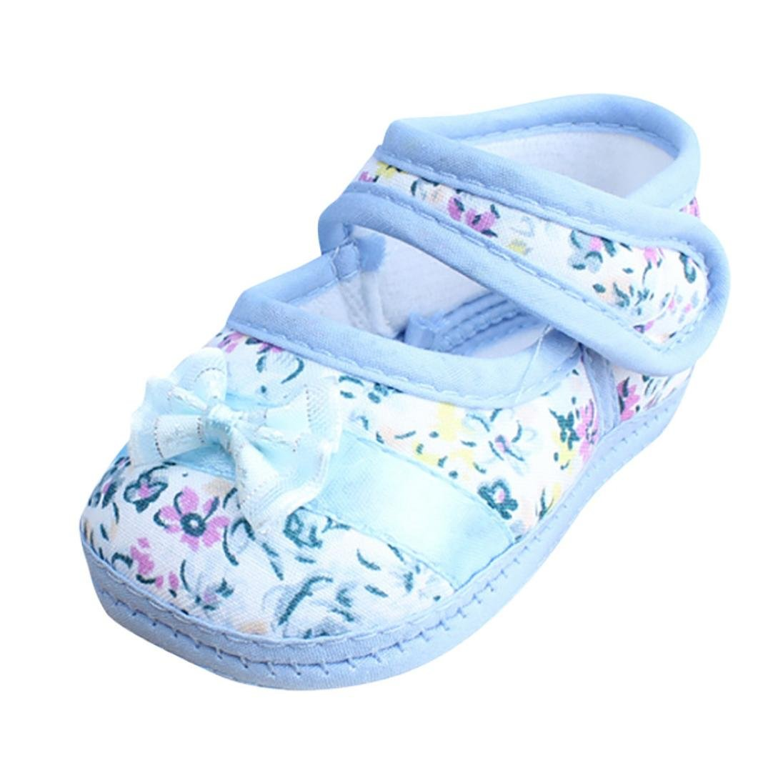 MONsin baby shoes Girl First Walkers,Baby Girl Sweet Soft Sole Bowknot Print Anti-Slip Casual Velcro Shoes Toddler