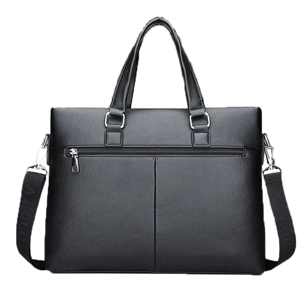Work Shoulder Bag Balalafairy-bri Men Laptop Briefcase Bag Leather Briefcase Lawyers Messenger Shoulder Laptop Business Bags for Men Black Color : Black