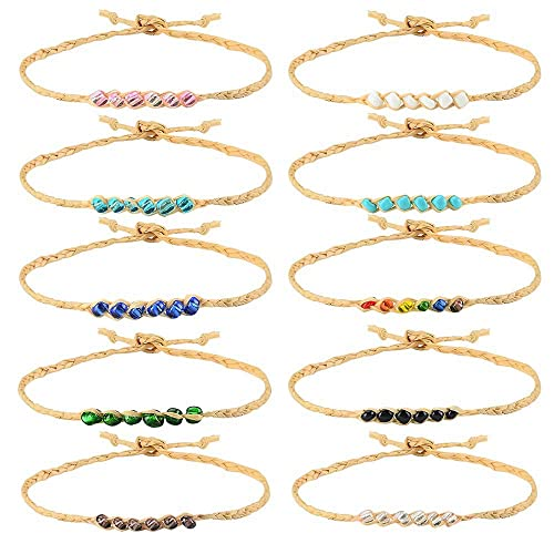 5b995f8e5c066 Tarsus 100% Waterproof Friendship Bracelet-10Pcs Braided Woven Wish  Friendship Bracelets Set for Women Girls String Handmade Beaded Hemp  Adjustable ...