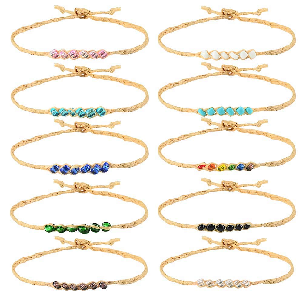 Tarsus 100% Waterproof-10Pcs Braided Woven Wish Friendship Bracelets Set for Women Girls String Handmade Anklet Beaded Hemp Adjustable Birthday Gift Jewelry