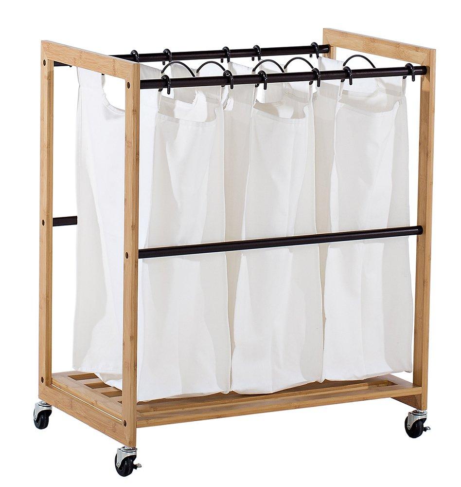 TRINITY 3-Bag Bamboo Laundry Cart, Bronze