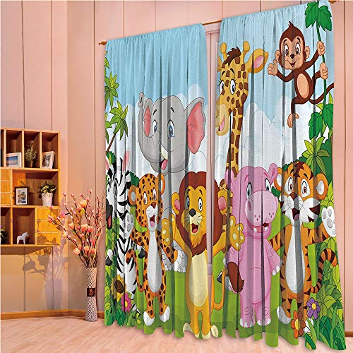 ZHICASSIESOPHIER Modern Style Room Darkening Blackout Window Treatment Curtain Valance for Kitchen/Living Room/Bedroom/Laundry,Animals Playful Friendly Safari Jungle Happy Wildlife 108Wx63L Inch