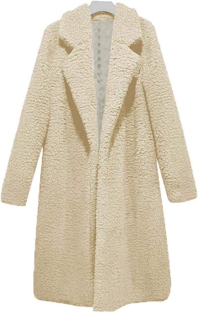 Abrigos de Piel sintética de Cordero de Invierno Mujeres Abrigo Fleece Abrigo Grueso y cálido Caqui Marca de Moda Streetwear Rosa Casual Ropa de Abrigo Larga