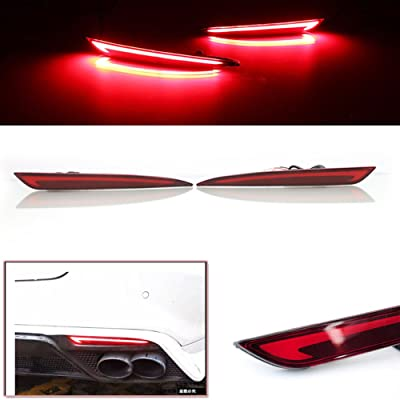 3D Optic Red LED Rear Bumper Reflector Turn Signal Brake Tail Lights Lamps For 2014 2015 2016 2020 2020 Ford Fusion Mondeo 2 Pack: Automotive