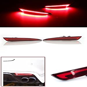 3D Optic Red LED Rear Bumper Reflector Turn Signal Brake Tail Lights Lamps For 2014 2015 2016 2017 2018 Ford Fusion Mondeo 2 Pack