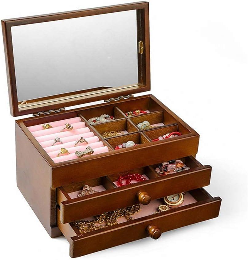 Caja de joyería Caja de almacenamiento de joyería de lana de 3 capas de estilo europeo para el collar Relojes Anillos de almacenamiento Pendientes Regalo de la vendimia para las niñas para