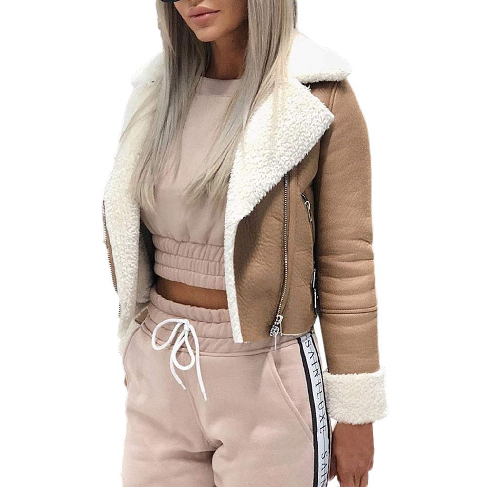Franterd Short Coat Women Lapel Suede Leather Buckle Cool Pilot Jacket Warm Faux Lamb Wool Motorcycle Jackets