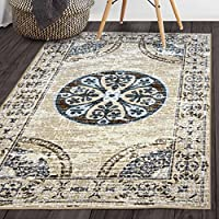 Superiors Designer Non-slip Shiloh Area Rug; Digitally Printed, Low Maintenance, Affordable and Fashionable, Grey-Cream - Runner