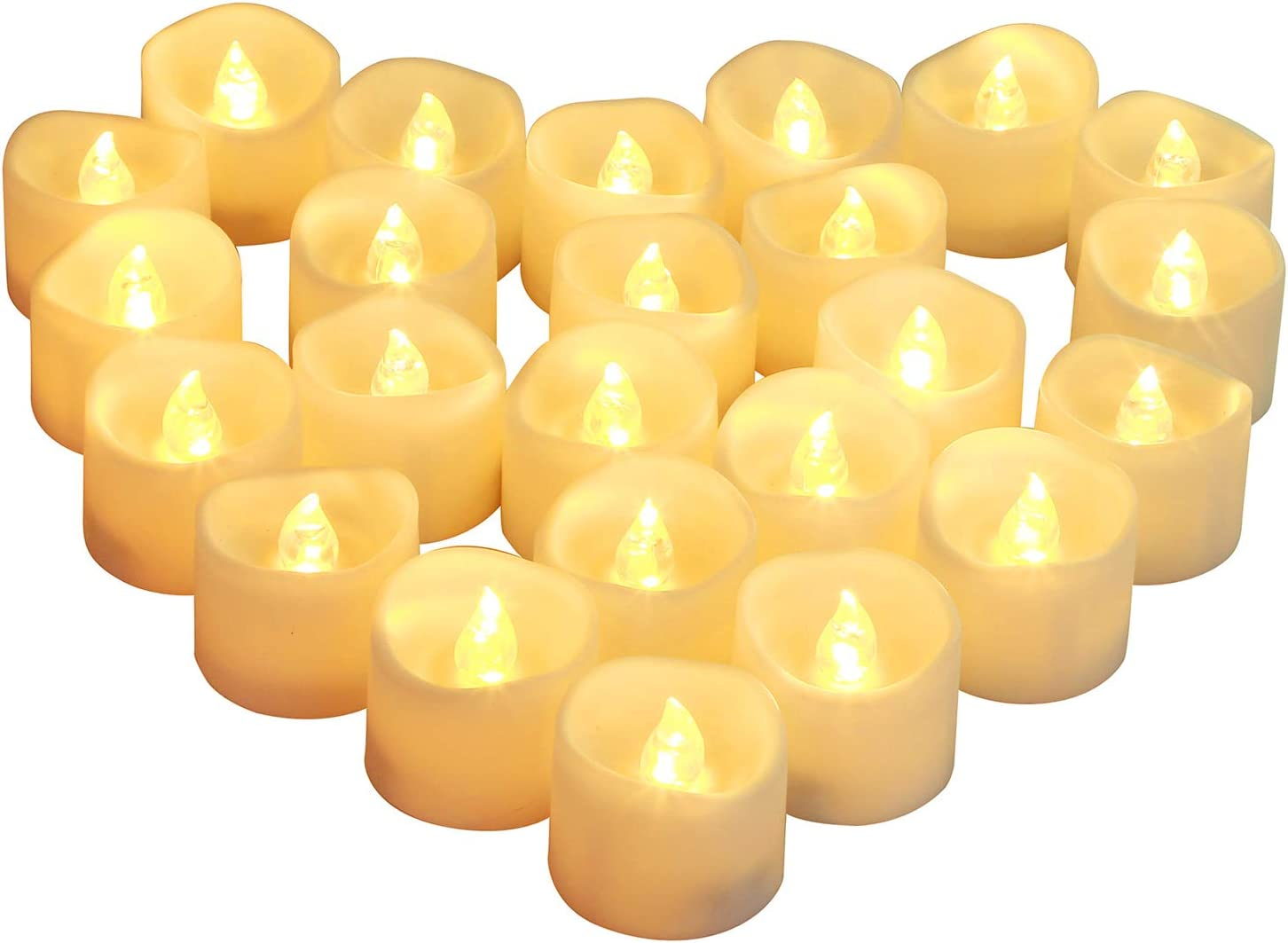 Homemory 24-Count Timed Tealight Candles, Battery Operated Tea Candles, Flameless Flickering Electric Candles with Timer for Home Decor, Brightness Upgrade, Batteries Included