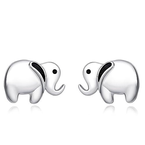 f26c24b4e61a0 POPLYKE Sterling Silver Little Lucky Elephant Pendant Necklace and Earrings  for Women Girls Boys