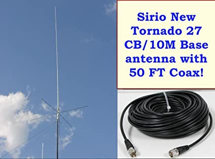 Sirio New Tornado 27 27-30 Mhz Tunable Base Antenna with 50Ft Coax Cable