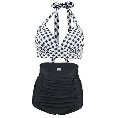 c054111f26 Dee Plus Maillot de Bain Femme 2 Pièces 2018 Nouveau Style Taille Haute Bikini  Pin Up