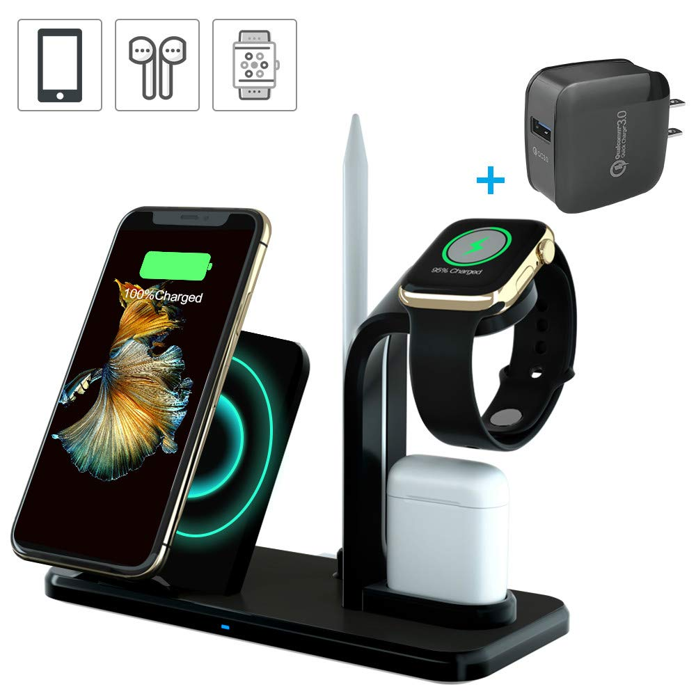 Wireless Charger Stand, MAWEAT 3 in 1 Wireless Charger, Qi Fast Wireless Charger Fit for Airpods iPhone X/XS/XR/8 Samsung S9/S8/S7, Wireless Charging Dock for iWatch Series 4/3/2/1【QC 3.0 Adapter】