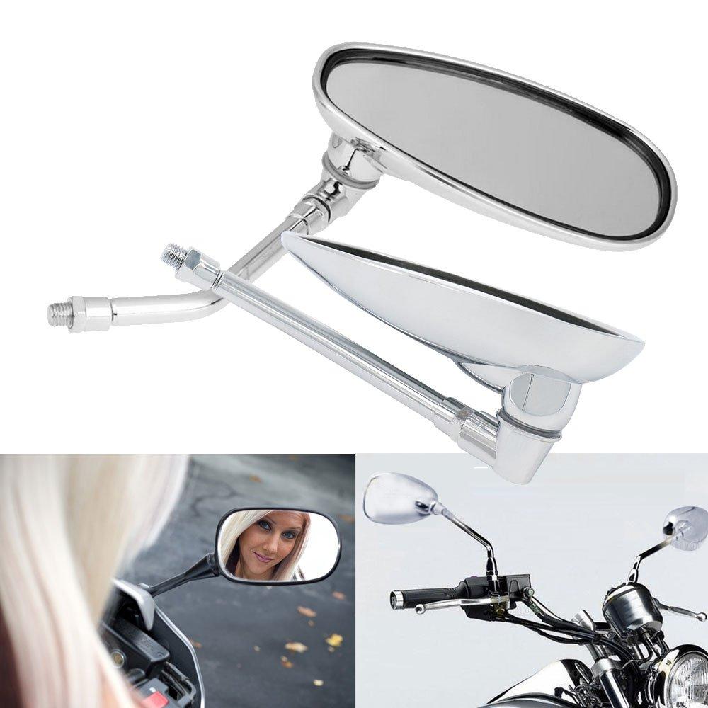 Frenshion Round 8mm Universal Motorcycle ATV Dirt Bike Handlebar Side Rear View Mirrors for Yamaha Honda Kawasaki KTM Suzuki Harley Silver