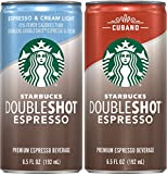 Starbucks Doubleshot Espresso Beverage, Espresso & Cream Light and Cubano Variety Pack, 12 Count, 6.5 oz Cans