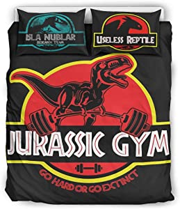 VVEDesign Jurassic Gym Coverlet Set Twin Size Soft Lightweight Jurassic 1 Quilt Cover + 1 Pillow Sham for Home Lodge White 90x90 inch