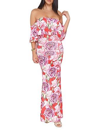 b67cc903600a FairBeauty Women s Floral Off Shoulder Ruffle Fishtail Evening Grown Long  Maxi Dress