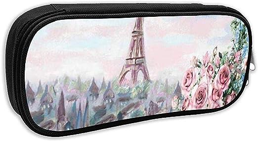 Estuche para lápices escolares, Acuarela Flor Verano París Suave Ciudad encantadora Francia Café Primavera Bolígrafo de aceite francés Bolso de papelería de oficina: Amazon.es: Oficina y papelería