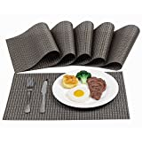 Table Mats,Placemats Washable Heat Insulation Non-slip Dishwasher Safe Set of 6 for Home Restaurant Office Bar(Brown)