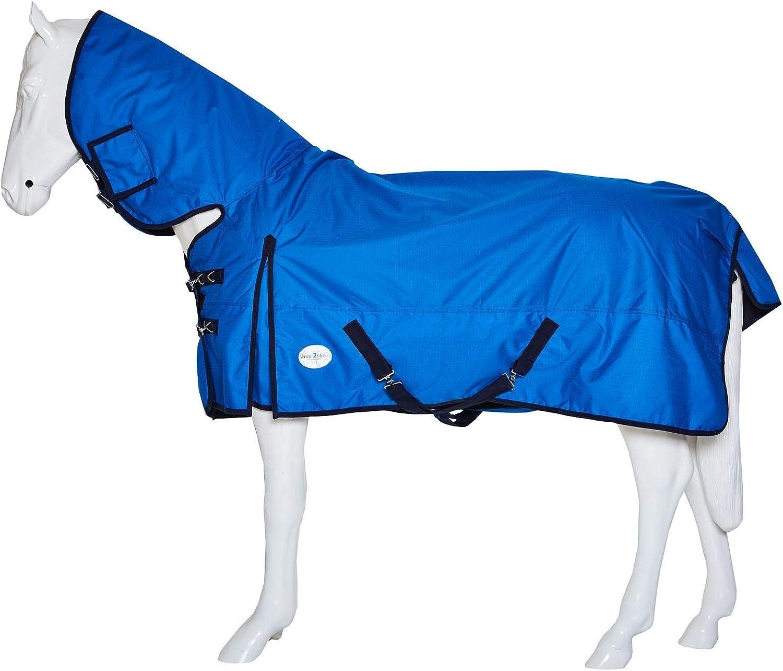 Best On Horse BOH - Manta Impermeable para Caballo (200 g, Ligera, antidesgarros, con Cuello Fijo)