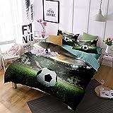 Jameswish 3D Football Duvet Cover Set World Cup Children Soccer Bed Cover Heavy-Duty Comfortable Fabric Bed Linen 1Duvet Cover 1Flat Sheet 2Pillowshams King Size