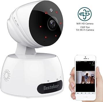 Cámara IP WiFi, cámara de vigilancia inalámbrica FHD 720P para ...
