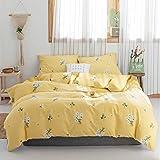 Girls Full Floral Bedding Sets Queen Yellow 3 Pieces Cotton Flowers Duvet Cover Set with 2 Pillow Shams,Lightweight Comforter