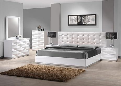 Amazon.com: J&M Furniture Verona White Lacquer & Leather Queen ...