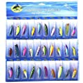 UniqueVC 30pcs Crankbaits Spinner Tackle Baits Lures Lot,Fishing Lure Set For Trout Bass Salmon Freshwater Saltwater With Metal Hooks