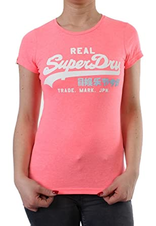 Superdry T Shirt Women Vintage Logo Rainbow Neon Pink Marl Grosse Xs