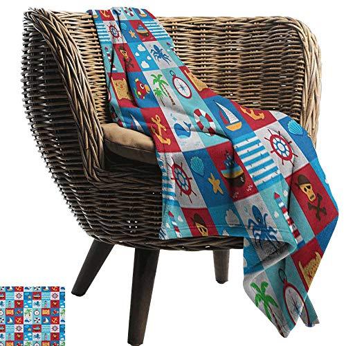 - warmfamily Reversible Blanket Kids Cartoon Style Nautical Icons and Animals Maritime Sea Life Pirates Joyful Collection Sofa Chair 60