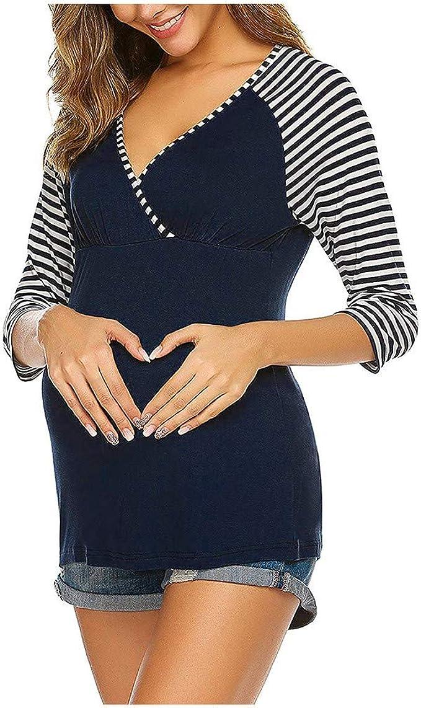 STRIR Camiseta de Lactancia a Rayas V Cuello de Manga 3/4 Premamá para Mujer Embarazo Lactancia T-Shirt Camisa Tops Blusa de Maternidad: Amazon.es: Ropa y accesorios